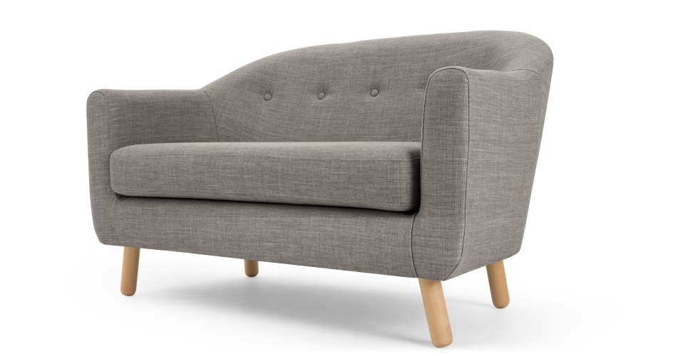 Lottie 2 Seat Sofa, Chalk Grey | Made With 2 Seater Sofas (Image 6 of 10)