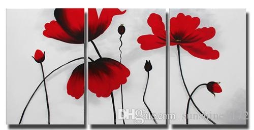 Lotus Flower Canvas Painting Wall Decor 3 Panel Red Flower Oil Pertaining To Red Flowers Canvas Wall Art (Image 12 of 20)