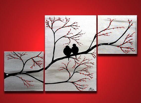Love Birds In Tree Brance, Original Large Wall Art 42 X 24, Silver With Regard To Canvas Wall Art Of Trees (View 14 of 20)
