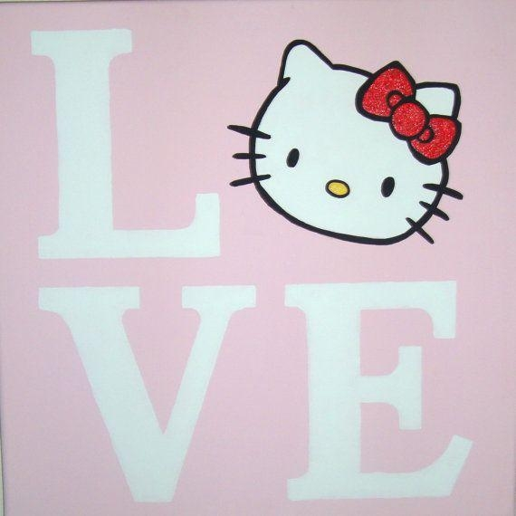 Love Hello Kitty Canvas Wall Art Painting Handpaintedbbmnky06 Regarding Hello Kitty Canvas Wall Art (Image 18 of 20)