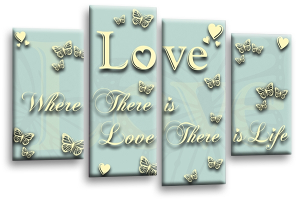 Love Horizontal Coloured Canvas Wall Art Inside Duck Egg Canvas Wall Art (Image 13 of 20)