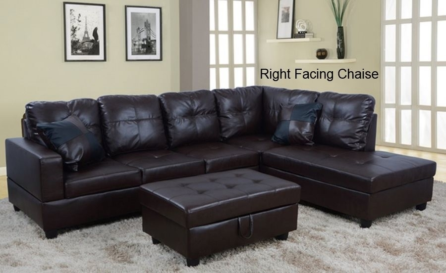Low Profile Espresso Faux Leather Sectional Sofa W/ Right Arm Chaise Regarding Faux Leather Sectional Sofas (Image 8 of 10)