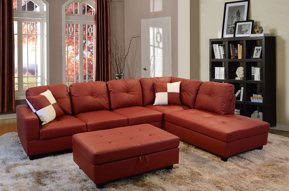 Low Profile Red Faux Leather Sectional Sofa W/ Right Arm Chaise Throughout Red Faux Leather Sectionals (Image 6 of 10)