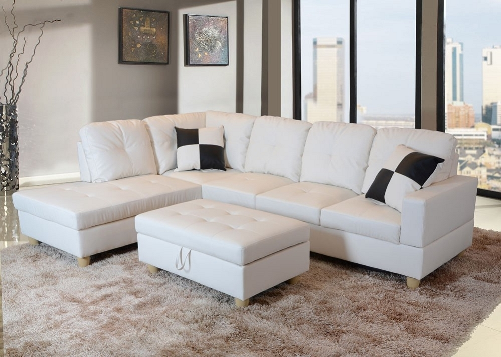 Low Profile White Faux Leather Sectional Sofa W/ Left Arm Chaise Inside Faux Leather Sectional Sofas (Image 9 of 10)