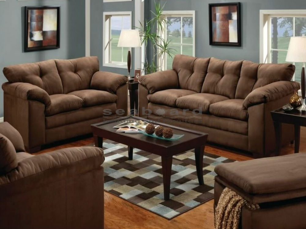 Luna Chocolate Microfiber Sofa And Loveseat Set 6565 Pertaining To Casual Sofas And Chairs (Image 8 of 10)