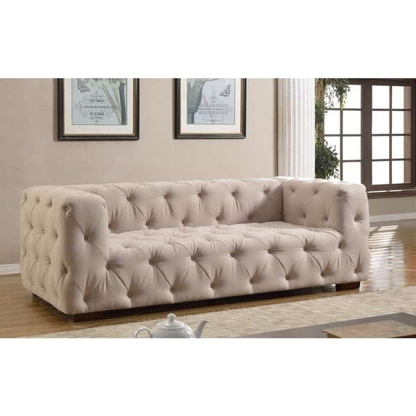 Luxurious Modern Large Tufted Linen Fabric Sofa – Free Shipping Throughout Tufted Linen Sofas (Image 6 of 10)