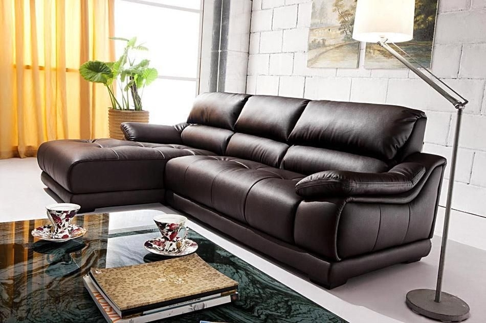Luxury And Sleek Sectional Sofa In Espresso Leather Puerto Rico With Sleek Sectional Sofas (Image 5 of 10)
