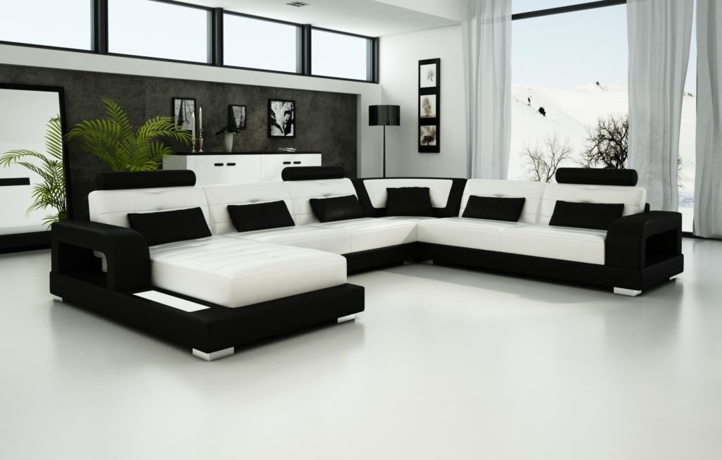 Luxury Black And White Sectional Leather Sofa | Amepac Furniture Intended For Black And White Sofas (Image 9 of 10)
