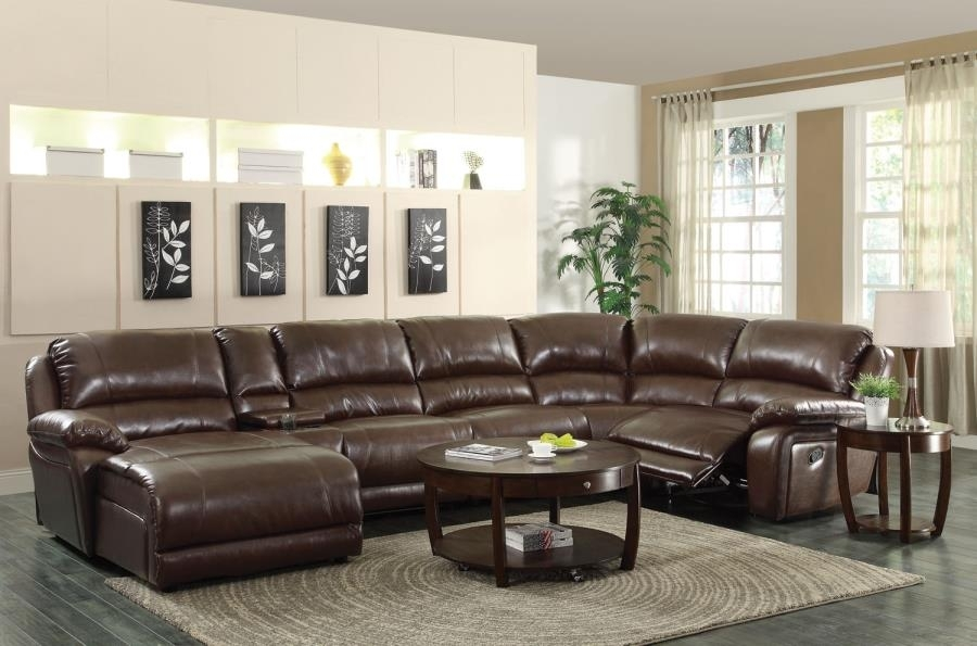 Mackenzie Brown Leather 6 Piece Reclining Sectional Sofa With Casual In Philadelphia Sectional Sofas (View 5 of 10)