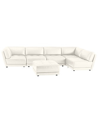 Macys Leather Sectional Sofa Vice Versa 6 Piece Modular Tufted Inside Macys Leather Sectional Sofas (Image 6 of 10)