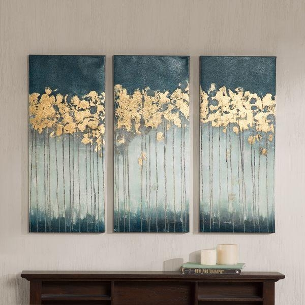 Madison Park Midnight Forest Gel Coat Canvas With Gold Foil Within Embellished Canvas Wall Art (Image 11 of 20)