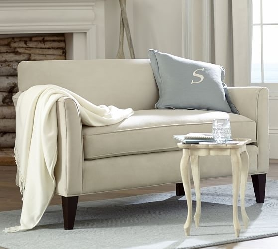 Marcel Upholstered Mini Sofa | Pottery Barn In Mini Sofas (Image 4 of 10)