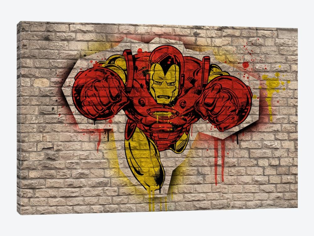 Marvel Comic Book: Iron Man Graffiti Art Printmarvel Comics Inside Marvel Canvas Wall Art (Image 12 of 20)