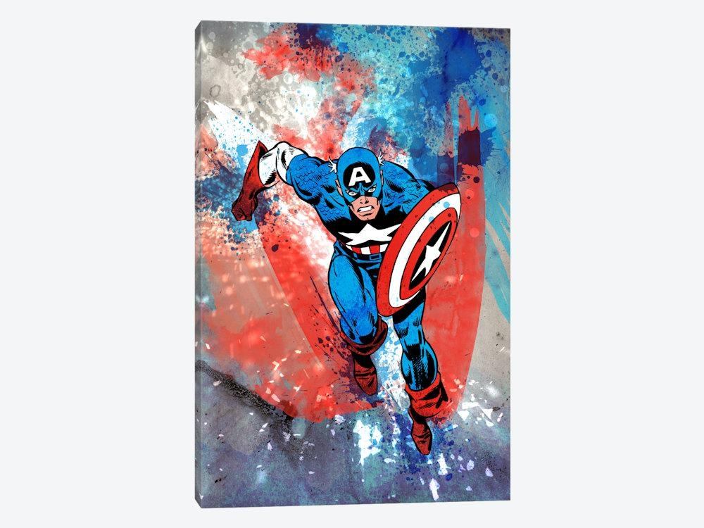 Marvel Comics Captain America Running Painted  | Marvel Comics Inside Marvel Canvas Wall Art (Image 13 of 20)