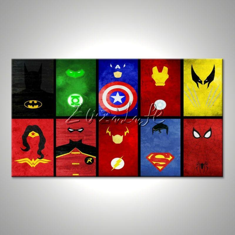 Marvel Prints Comics Pictures For Walls Avengers Painting Super Intended For Marvel Canvas Wall Art (Image 15 of 20)