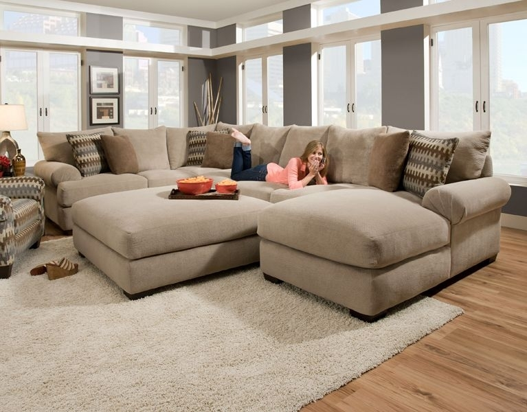 Massive Sectional Featuring An Extra Deep Seat With Crowned Cushions With Sofas With Oversized Pillows (Image 5 of 10)