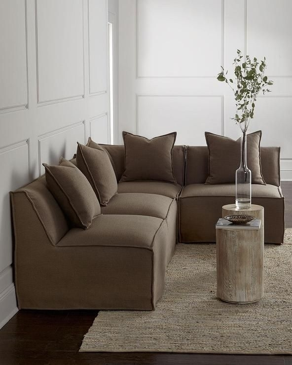 Massoud Carson Armless Taupe Sectional Sofa | Board And Batten Throughout Armless Sectional Sofas (Image 8 of 10)