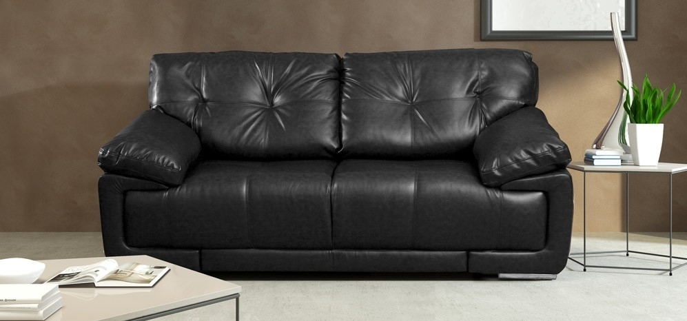 Maxim 2 Seater Black Intended For Black 2 Seater Sofas (View 4 of 10)