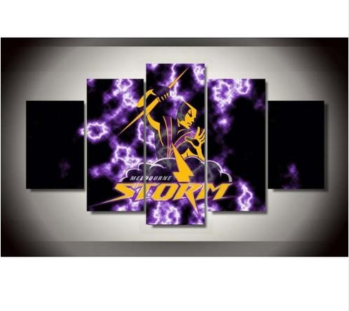 Melbourne Storm Nrl Clubteam 5 Piece Canvas Wall Art | Creative Inside Canvas Wall Art In Melbourne (Image 15 of 20)