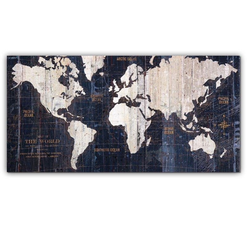 Mercury Row 'old World Map Blue' Graphic Art On Wrapped Canvas For Canvas Wall Art At Wayfair (Image 11 of 20)