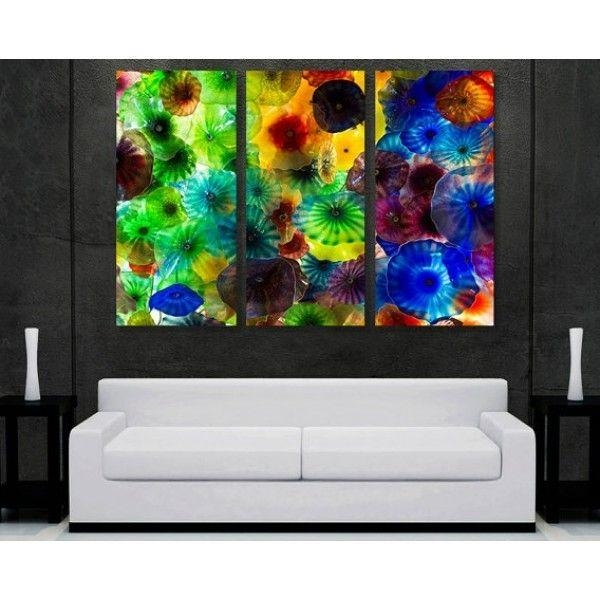 Metal Abstract Wall Art Decor – Chihuly Glass 5 Panel | Pomysły Do For Glass Abstract Wall Art (View 4 of 20)