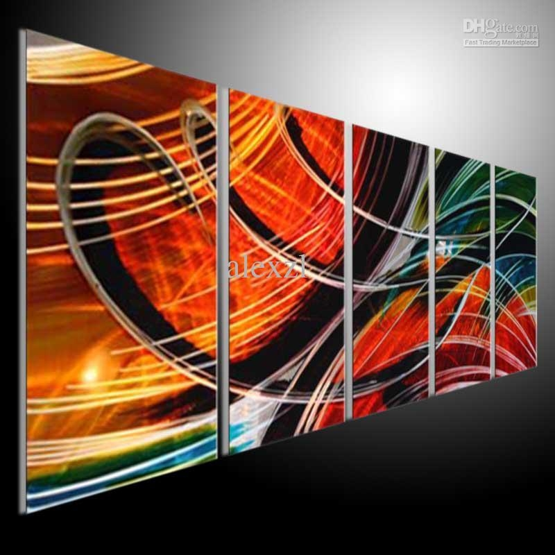 Metal Wall Art Abstract Modern Sculpture Painting Handmade 5 In Inside Abstract Metal Wall Art Panels (View 2 of 20)