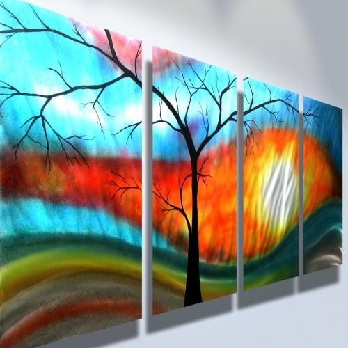 Metal Wall Art Abstract Modern Sculpture Zen Nature  Shadow Tree Throughout Abstract Nature Wall Art (Image 8 of 20)
