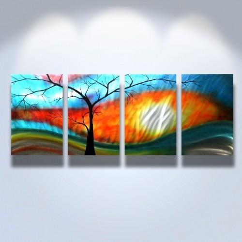 Metal Wall Art Abstract Modern Sculpture Zen Nature  Shadow Tree Within Abstract Nature Wall Art (Image 9 of 20)