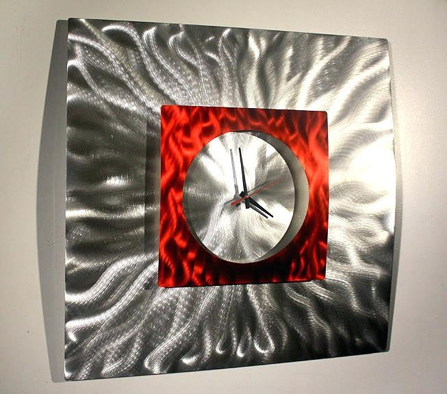 Metal Wall Art Clock Abstract Modern Decor Sculpture Throughout Abstract Metal Wall Art With Clock (Image 13 of 20)