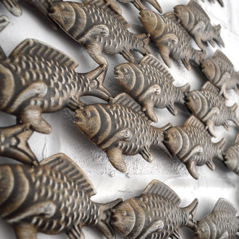Metal Wall Art – Shoal Of Fish – Coastalhome.co (View 20 of 20)