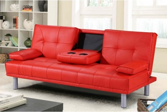 Miami Red Leather Sofa Bed Designer Bed | Morale Home Furnishings Regarding Red Leather Sofas (Image 3 of 10)