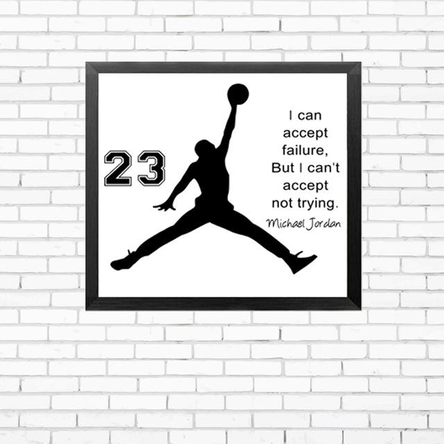 Michael Jordan Poster Inspiring Quotes Wall Art Canvas Painting Pertaining To Michael Jordan Canvas Wall Art (Image 16 of 20)