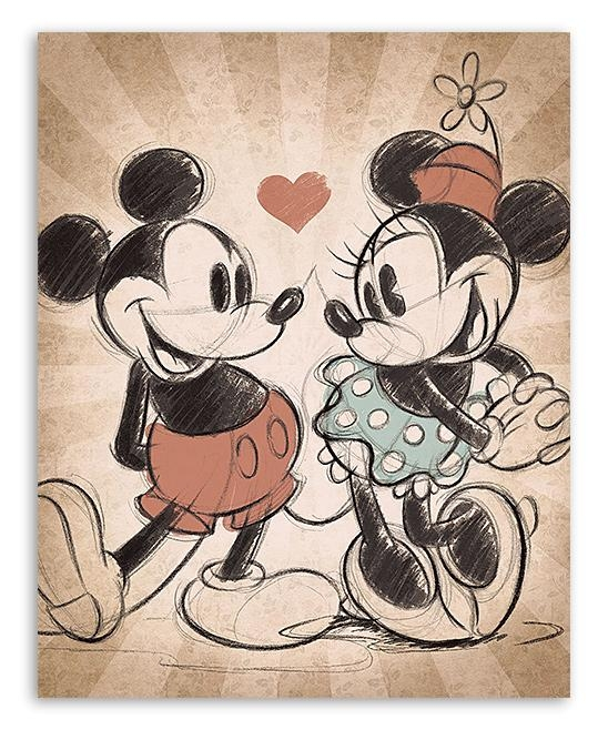 Mickey Mouse & Minnie Mouse Mickey & Minnie Vintage Love Canvas With Mickey Mouse Canvas Wall Art (View 12 of 20)