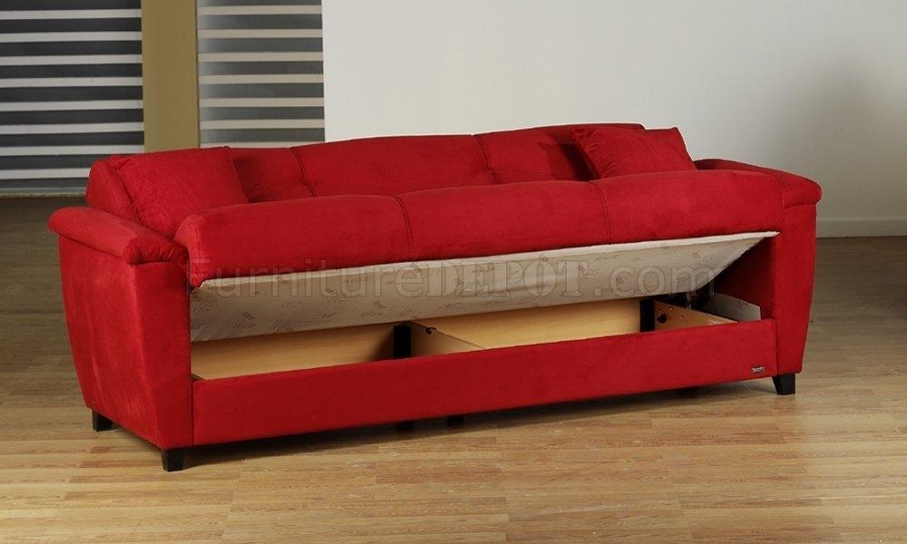 Microfiber Fabric Living Room Storage Sleeper Sofa For Red Sleeper Sofas (View 4 of 10)