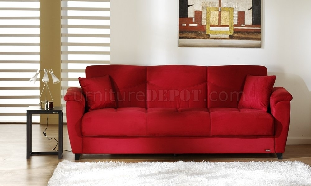 Microfiber Fabric Living Room Storage Sleeper Sofa Inside Red Sleeper Sofas (Image 9 of 10)