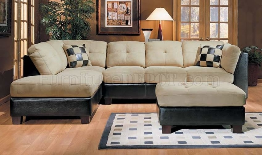 Microsuede And Leather Two Tone Sectional Sofa Inside Leather And Suede Sectional Sofas (Image 3 of 10)