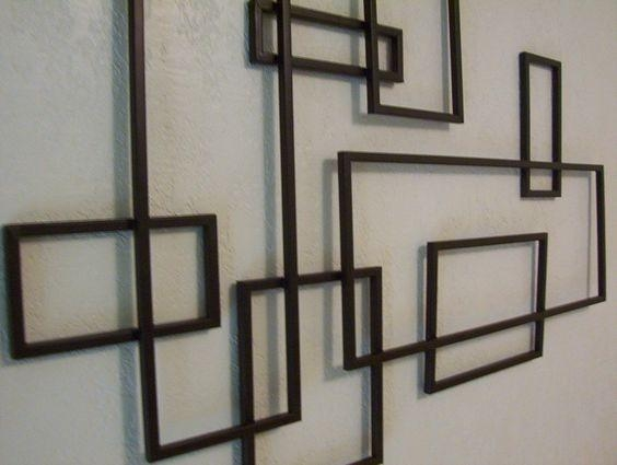Mid Century Modern ~ De Stijl Style Geometric Metal Wall Sculpture Pertaining To Geometric Modern Metal Abstract Wall Art (Image 13 of 20)