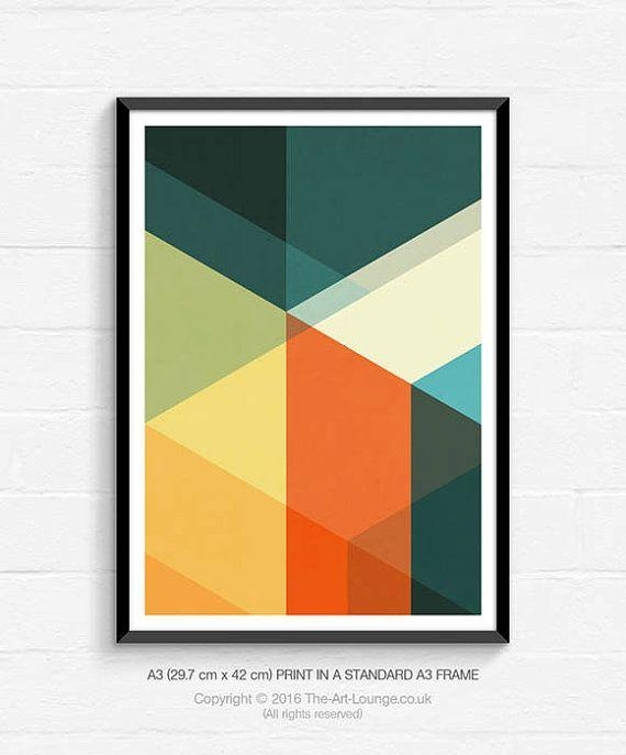Mid Century Modern, Geometric Art, Abstract Art, Art Print In Abstract Graphic Wall Art (Image 13 of 20)