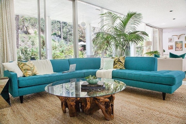 Midcentury Family Room With Striking Couch In Turquoise | Eva Furniture In Turquoise Sofas (View 8 of 10)