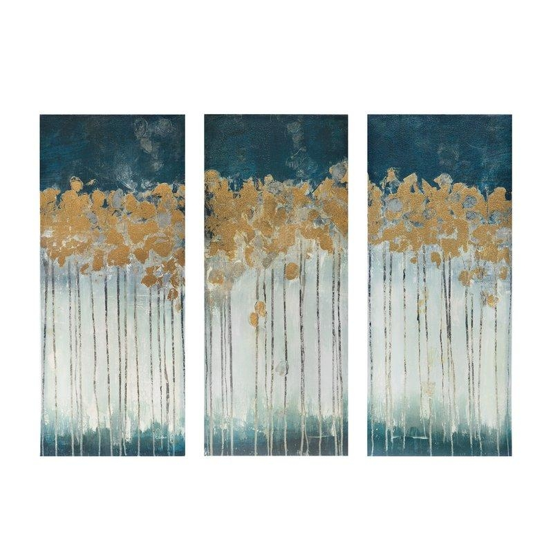 Midnight Forest' Gel Coat Canvas Wall Art With Gold Foil For Gold Canvas Wall Art (View 6 of 20)