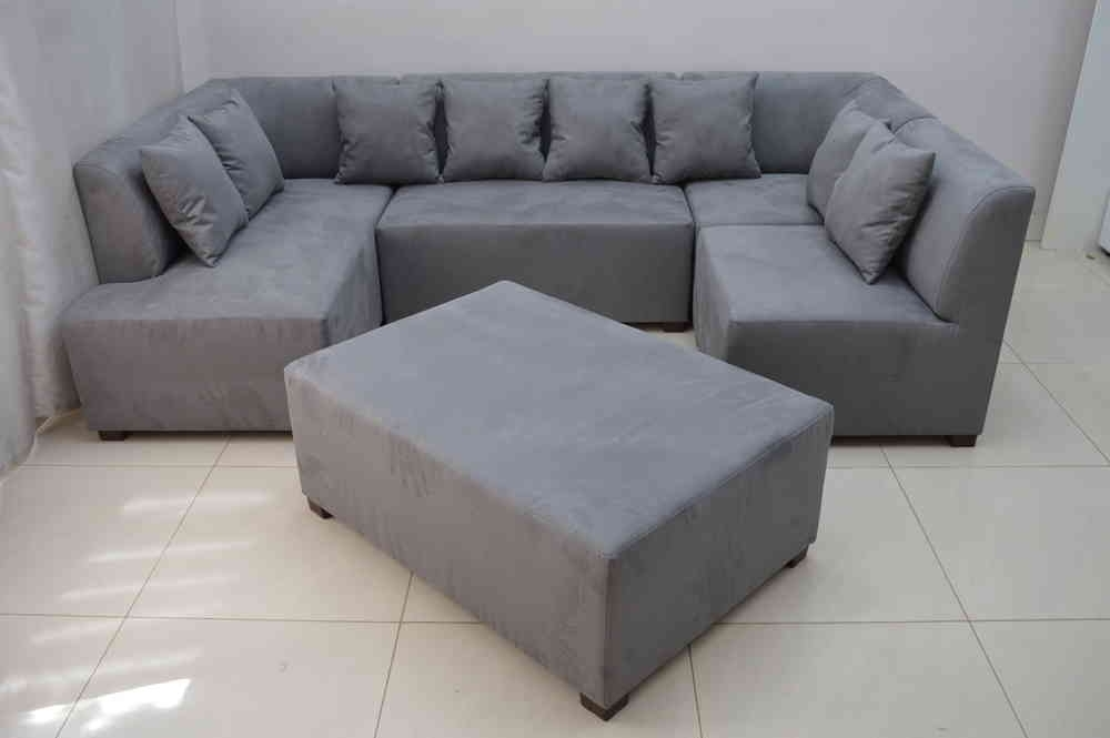 Mini Modular Sofa Grey Faux Suede Fabric Inside Faux Suede Sofas (View 3 of 10)