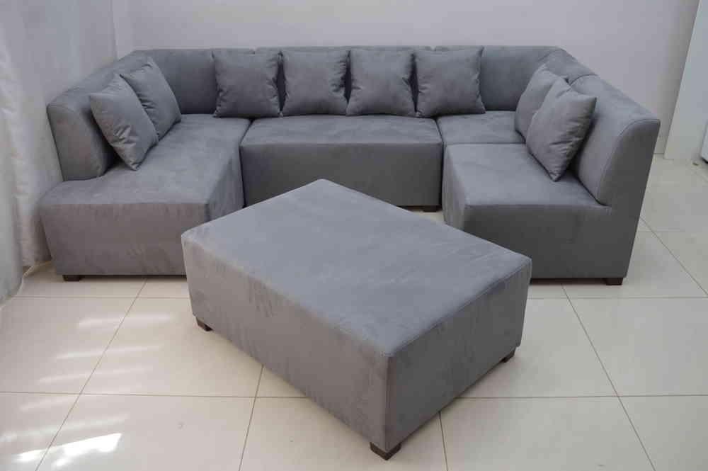 Mini Modular Sofa Grey Faux Suede Fabric Inside Faux Suede Sofas (Image 7 of 10)