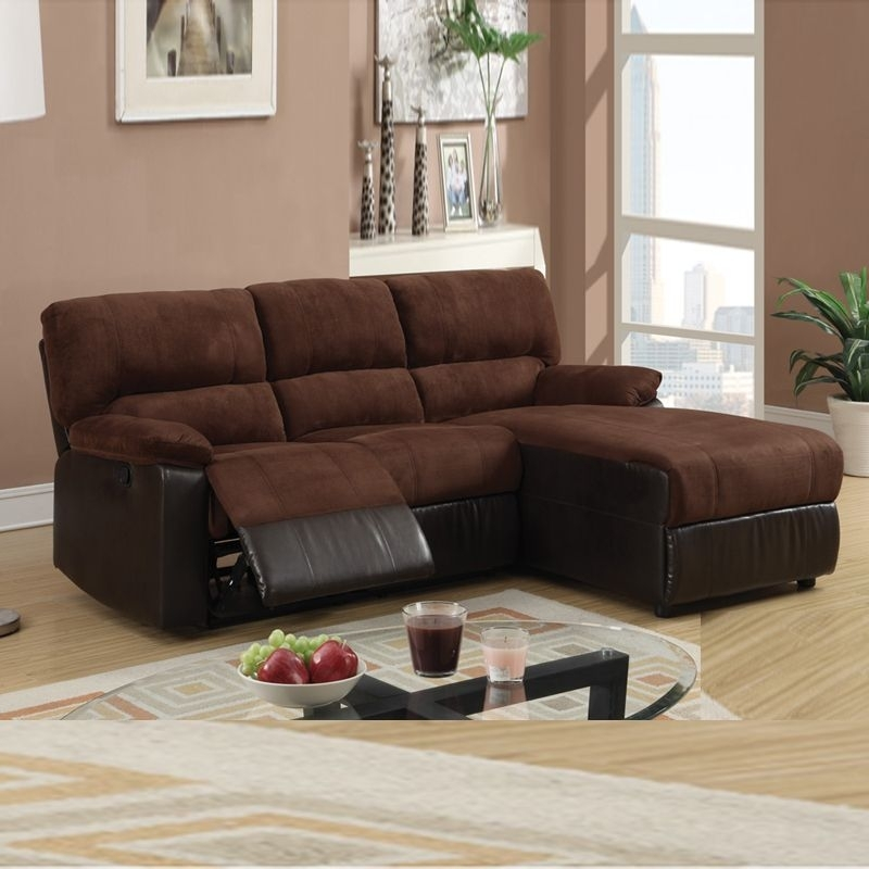Mini Sectional W Reversible Chaise | Pc Small Chocolate Microfiber Intended For Mini Sectional Sofas (Image 4 of 10)