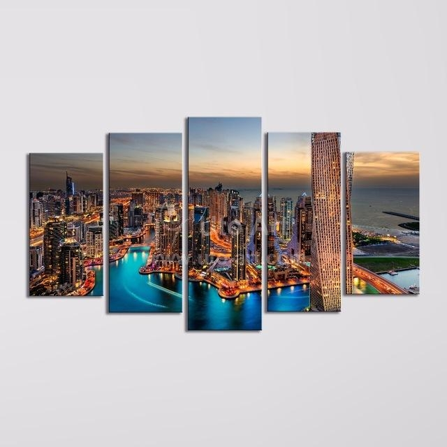 Modern 5 Piece Wall Art Painting Canvas Prints Frames Picture Of Intended For Dubai Canvas Wall Art (Image 15 of 20)