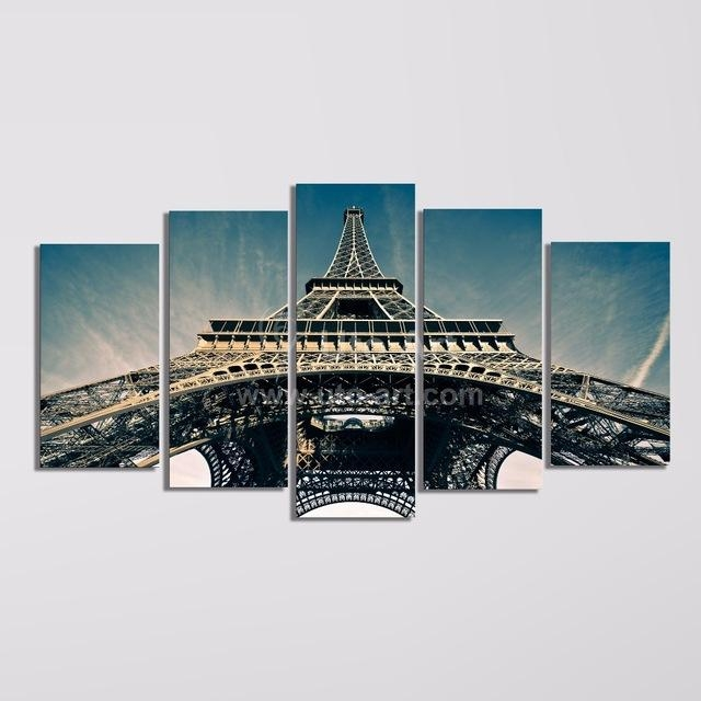 Modern 5 Piece Wall Art Painting Paris City Custom Canvas Prints Throughout Eiffel Tower Canvas Wall Art (Image 12 of 20)
