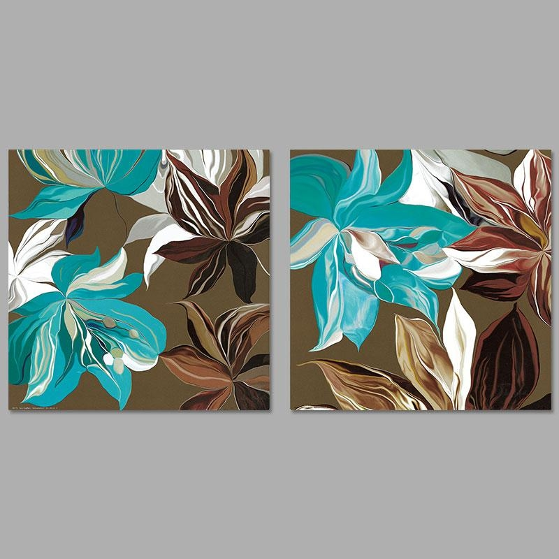 Modern Abstract Art 2Pcs/set Pictures Decoration Green Gray Brown Intended For Blue And Brown Canvas Wall Art (View 3 of 20)