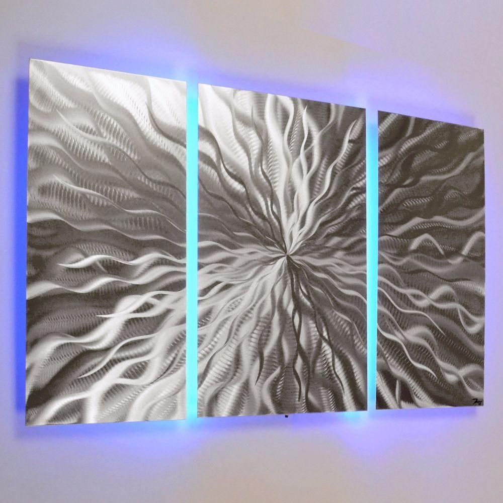 Modern Abstract Metal Wall Art Color Changing Led Lighting For Kingdom Abstract Metal Wall Art (Image 10 of 20)