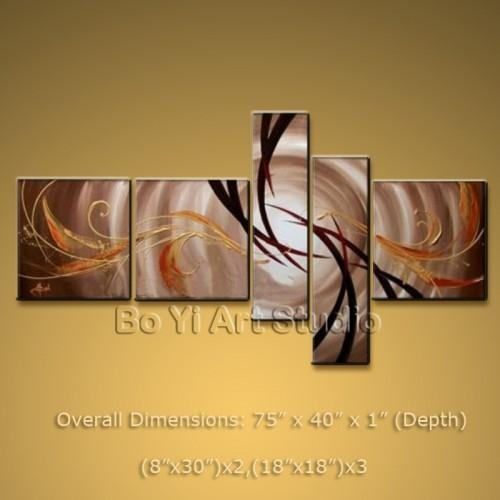 Modern Abstract Painting Wall Art Set Oil On Canvas Framed Large For Large Framed Abstract Wall Art (Image 15 of 20)