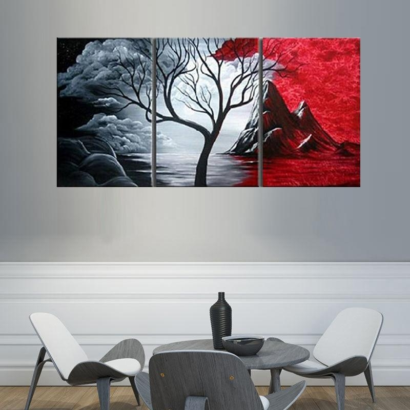 Modern Abstract Painting Wall Decor Landscape Canvas Wall Art 3 With Abstract Canvas Wall Art Iii (Image 10 of 20)