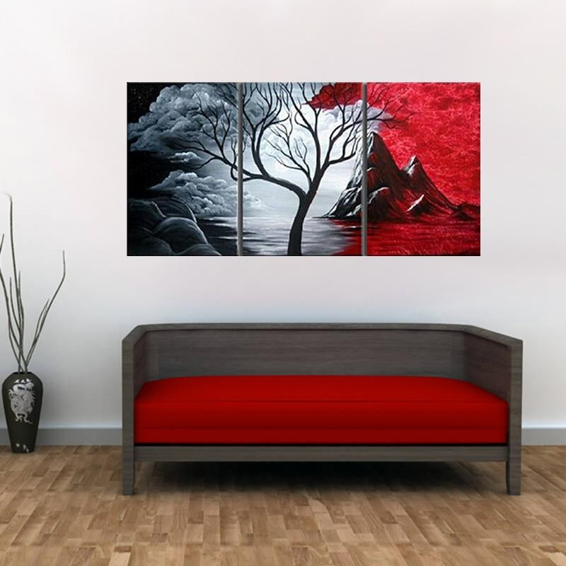 Modern Abstract Painting Wall Decor Landscape Canvas Wall Art 3 Within Canvas Wall Art Of Trees (Image 8 of 20)